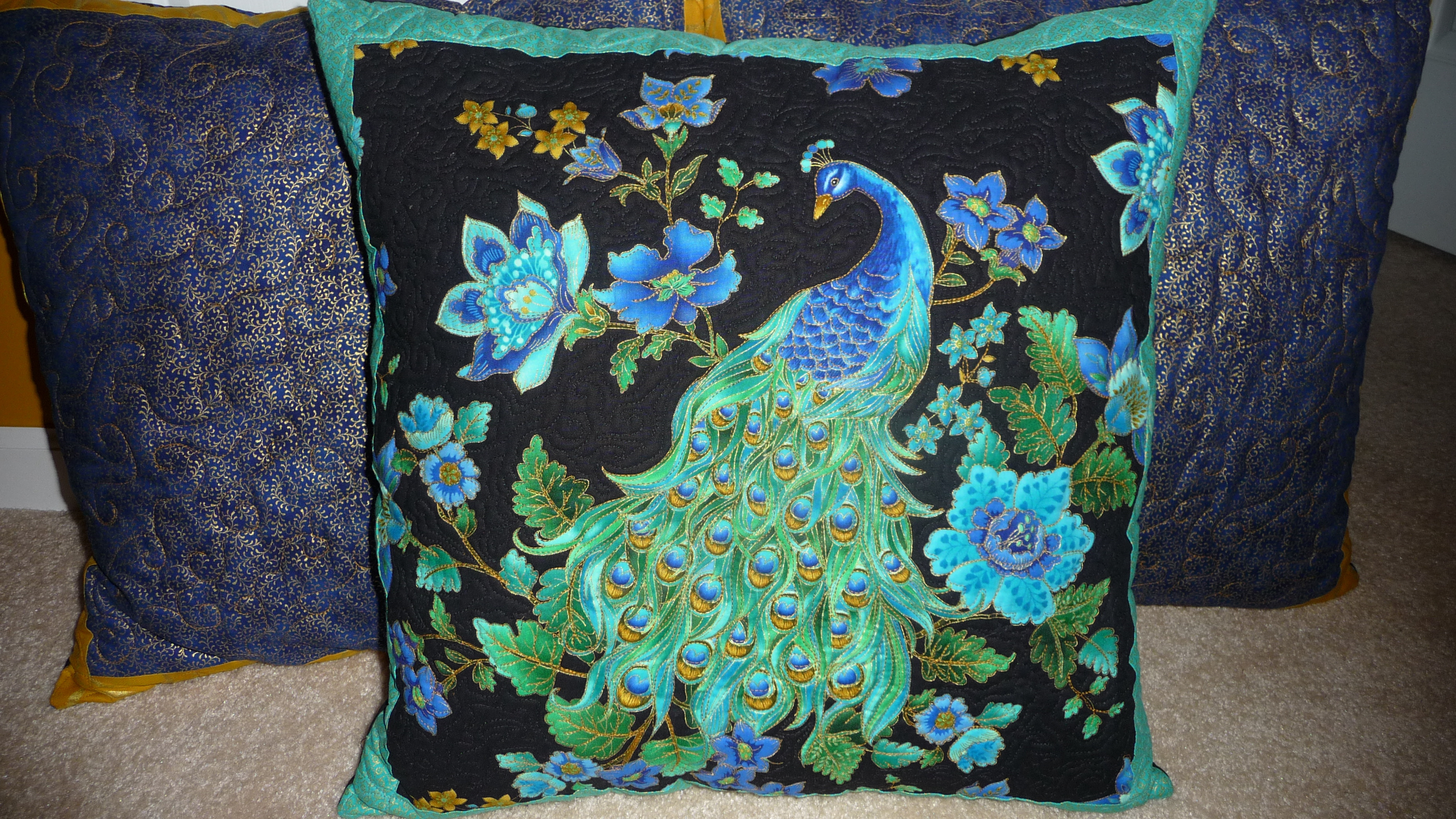 Quilted Peacock Pillows