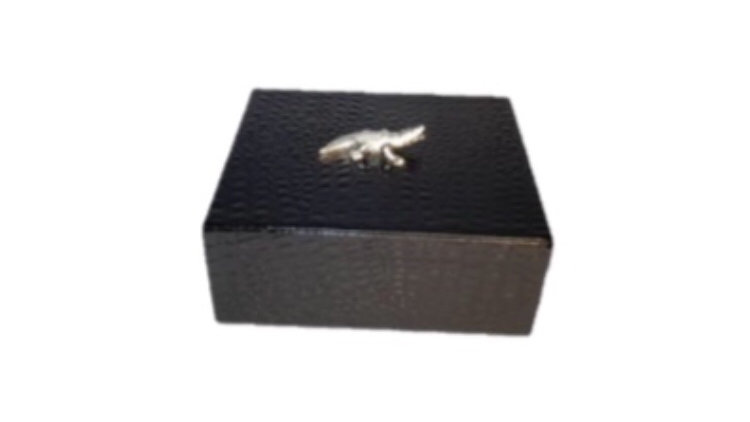 Crocodile Decorative Box (Silver)