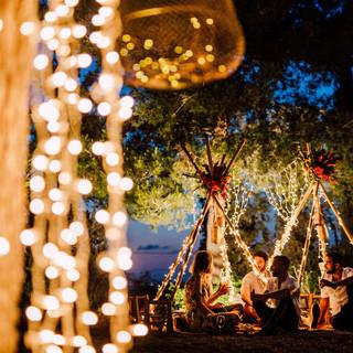 Fairy lights pool wedding