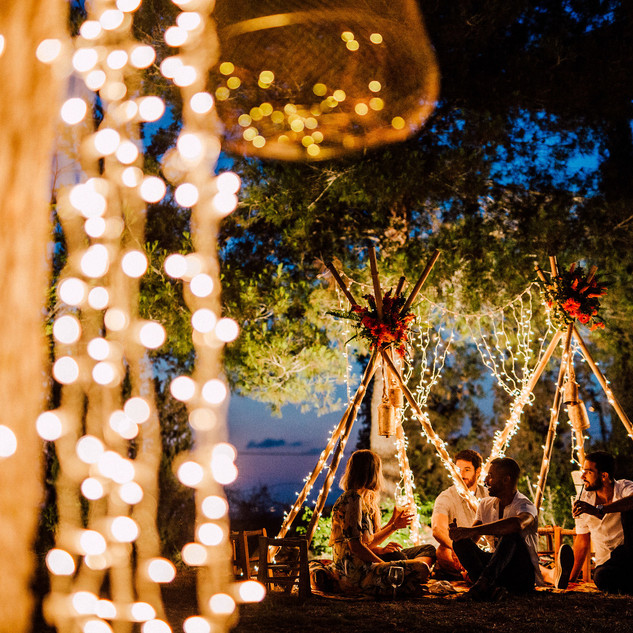 Fairy lights pool wedding