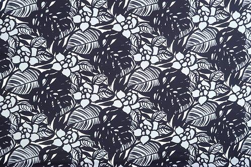 Modern Floral Cotton Fabric | Black & Grey