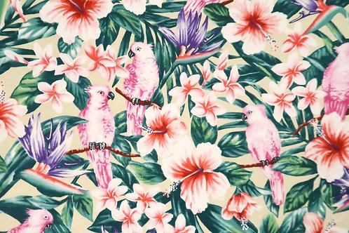Paradise Bird Prints Fabric | Beige