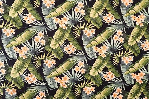 Plumeria Rayon Fabric   Black