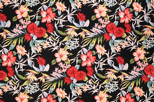 Ohia Lehua and Hibiscus Fabric | Black