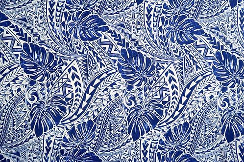 Monstera Polynesian Tribal Mix Prints | Blue Navy