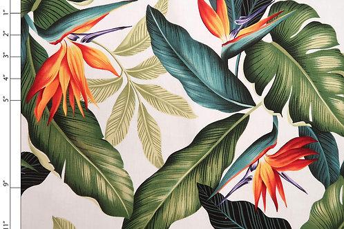 Bird of Paradise Cross Pattern Fabric | White