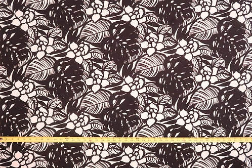 Modern Floral Fabric Black & White