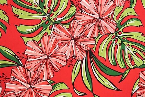 Big Hibiscus Print Hawaiian Fabric| Red