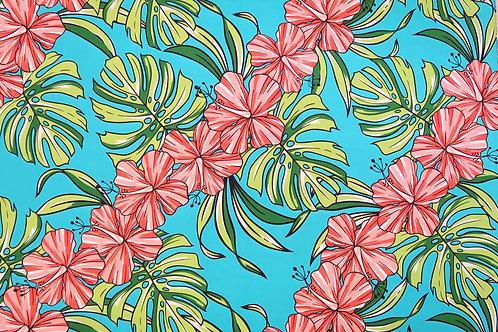 Big Hibiscus Print Hawaiian Fabric | Sky Blue