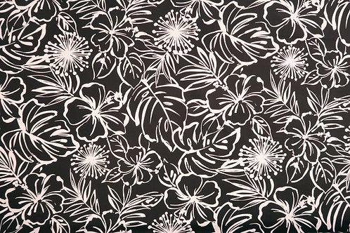 Modern Hibiscus and leaf Prints-| Black/White