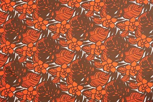 Modern Floral Fabric | Orange & Brown