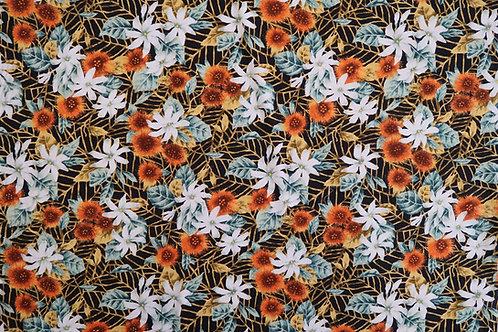 Misty Ohia Lehua and Tiare Fabric | Orange