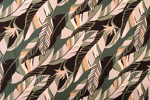 Modern Leaf Design Hawaiian Fabric | Green
