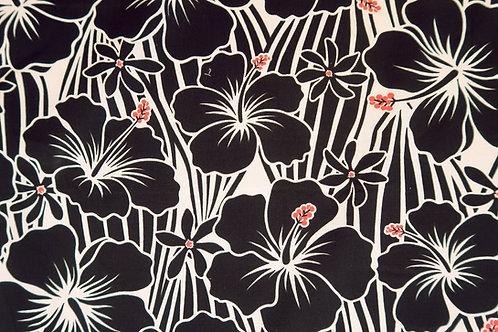 Black Hibiscus Marimekko-like Hawaiian Fabric| Black