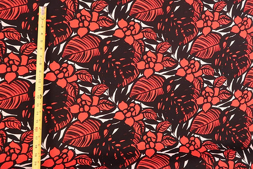 Modern Floral Fabric | Red & Black