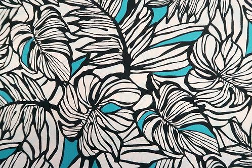 Modern Leaf Print Cotton Fabric   Teal & Black