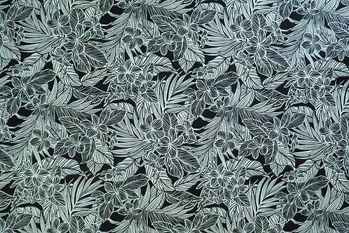 Modern Tropical Plumeria Flower Fabric | Black