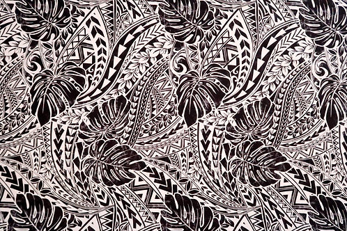 Monstera Polynesian Tribal Prints Fabric | Black