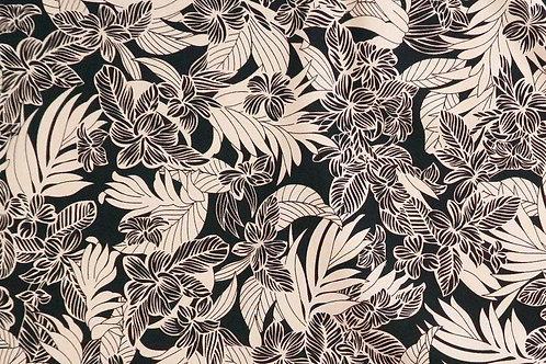 Beige and Black Plumeria Cotton Fabric