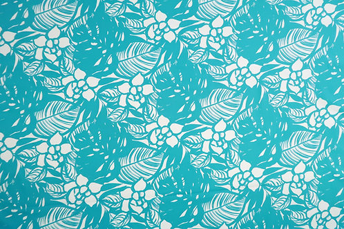 Modern Floral Cotton Fabric | Teal