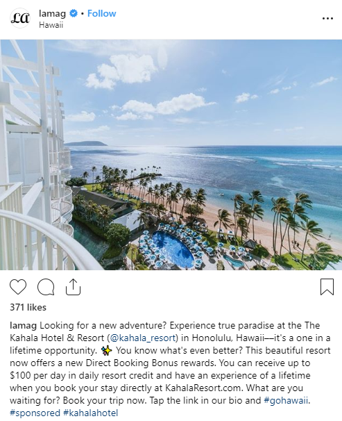 Sponsored Instagram Post