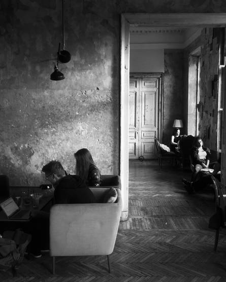 Russia sunlight travel coffee cafe photography B&W mood