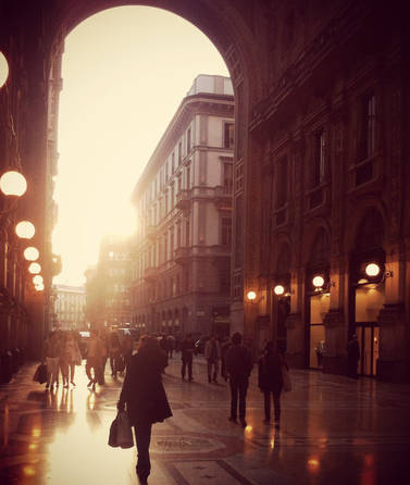 Milan travel architecture building city street photography red sunset beauty