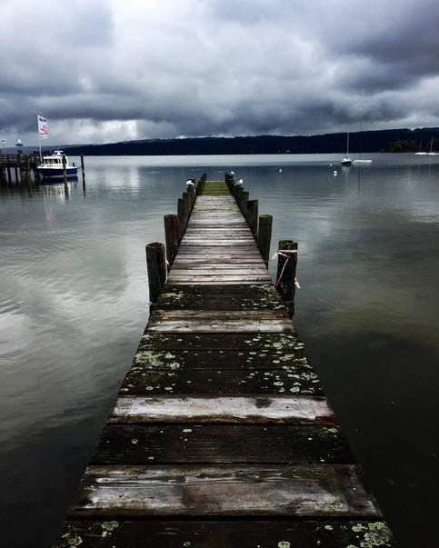 Germany travel lake bridge clouds photography mood