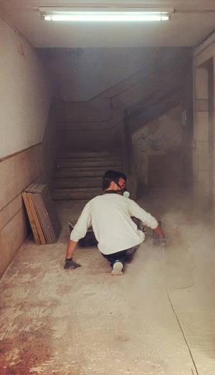 man light dust street photography