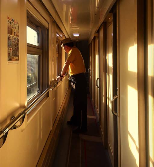 Russia travel train sunset