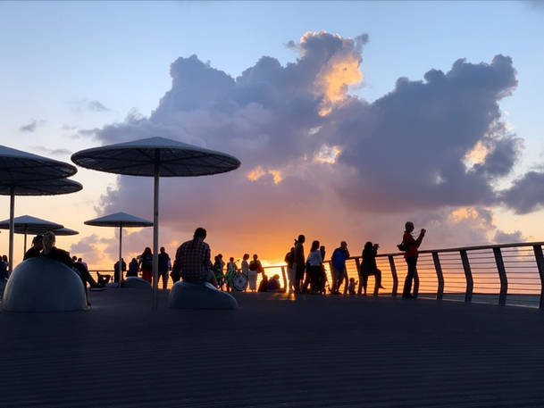 Tel Aviv beach summer city silhouette photography sunset clouds