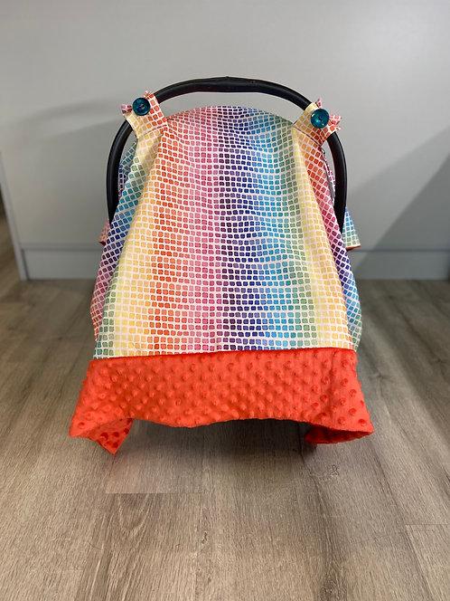 Rainbow Squares Car Seat Canopy