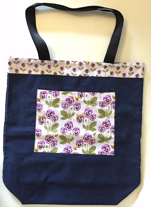 Purple Pansies and Bees Large Bag