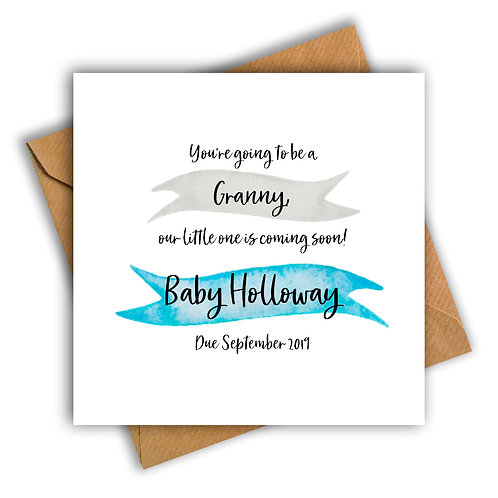 Personalised Ribbon Granny Pregnancy Announcement Card
