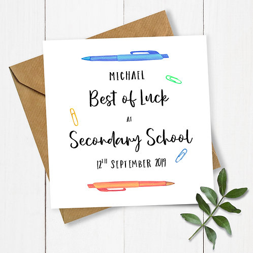 Personalised Pens Best of Luck at Secondary School Card