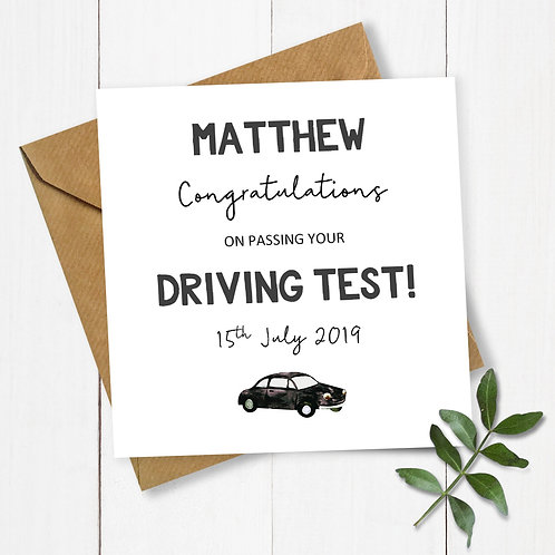 Personalised Congratulations on Passing Your Driving Test Card (Black)