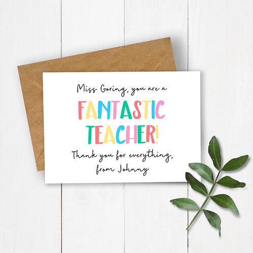 Fantastic Teacher Personalised Card