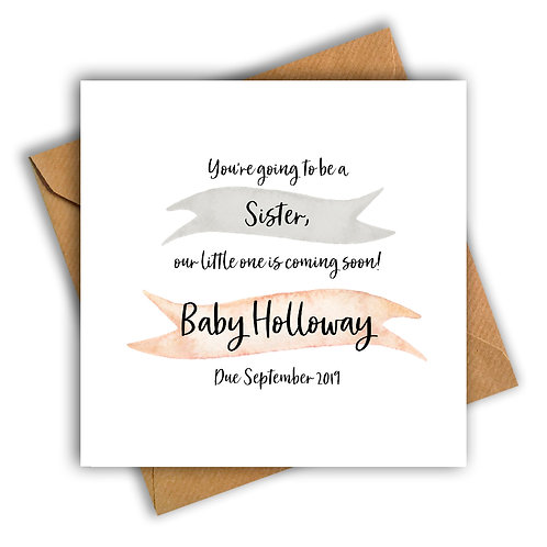 Personalised Ribbon Sister Pregnancy Announcement Card