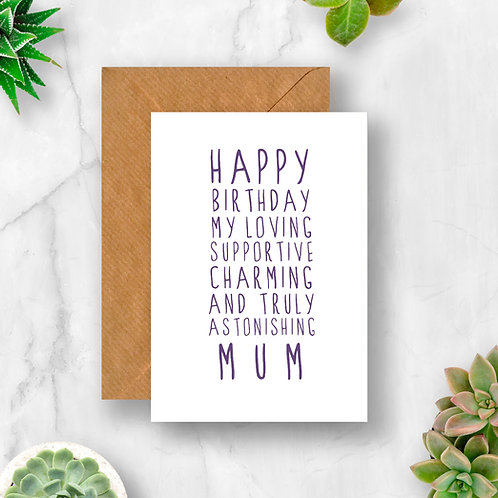 Sweet Description Happy Birthday Mum Card