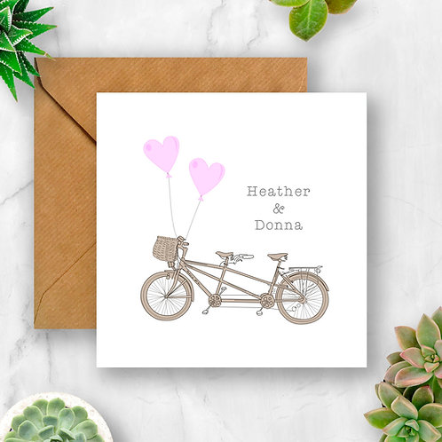 Personalised Tandem Card (Pinks)