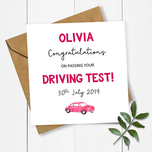 Personalised Congratulations on Passing Your Driving Test Card (Red)