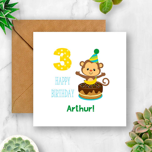 Personalised Little Monkey Birthday Age Card