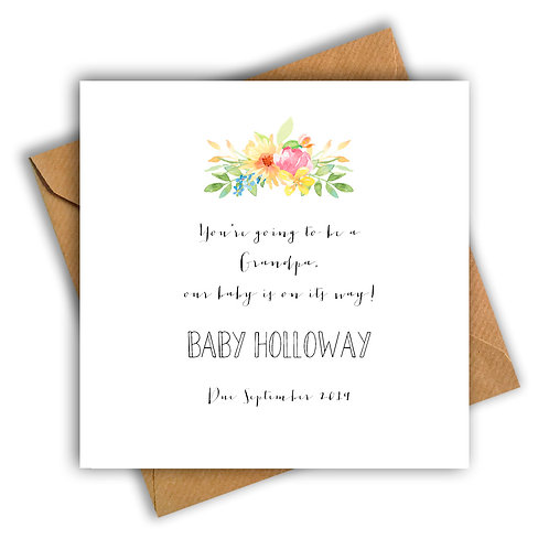 Personalised Flowers Grandpa Pregnancy Announcement Card
