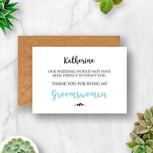Personalised Groomswoman Thank You Card