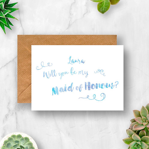 Personalised Will You Be My Maid of Honour? Watercolour Card