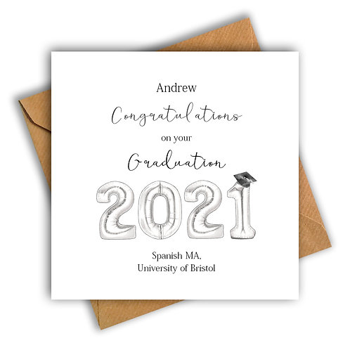 Personalised Balloon Graduation Card (Silver)