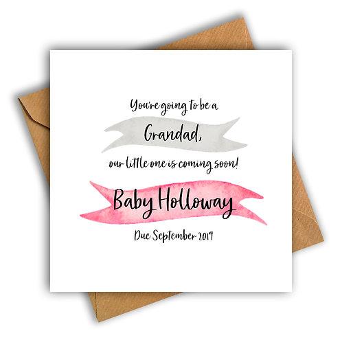 Personalised Ribbon Grandad Pregnancy Announcement Card
