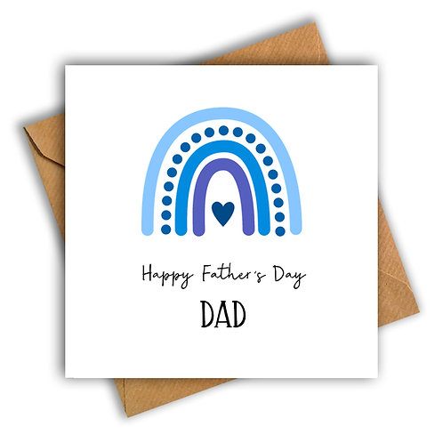 Rainbow Happy Father's Day Card (Blue)