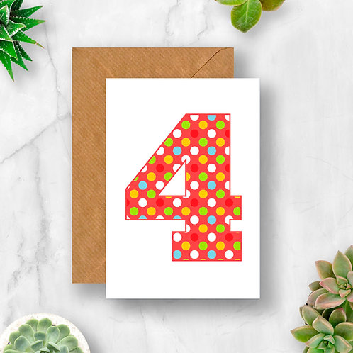 Bright 4th Birthday Number Card