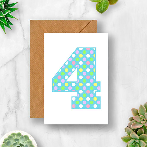 Pastel 4th Birthday Number Card